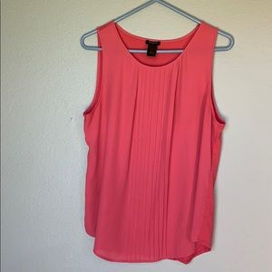 Ann Taylor sleeveless mix media blouse